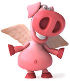 Flying pig. Cute pink happy pig, 3d generated Stock Photo