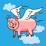 Flying pig. Fun cartoon of a flying pig with wings to represent the when pigs fly saying Stock Images