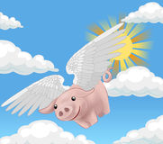 Flying pig. Pigs might fly, illustration royalty free illustration