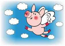 Flying pig. Vector flying little pig in the sky Royalty Free Stock Photo