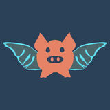 Flying pig cartoon. Stock Photos