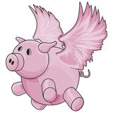 Flying Pig with Clipping Path Royalty Free Stock Images