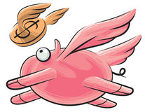 Flying pig and dollar. Fat pig with wings flying, following a flying dollar coin Stock Photo