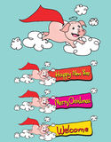 Flying Pig Happy New Year vector illustration Royalty Free Stock Photos
