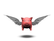 Flying Pig. Isolated on white Stock Photography