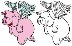Flying Pig Set. Pig with wings flying cartoon character isolated on a white background - both color and black / white versions Stock Photo