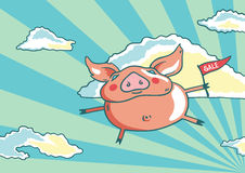 Flying pig. Pig with a small flag flying in the sky Stock Images