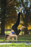 Flying pigeon yoga pose stock image