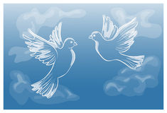 Flying pigeons in the sky. Vector illustration Stock Photography