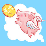 Flying piggy bank pig and coin. Moneybox. Stock Images