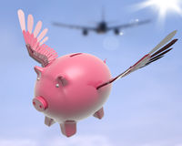 Flying Piggy Shows Sky High Future Success Stock Image
