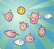 Flying pigs Royalty Free Stock Images
