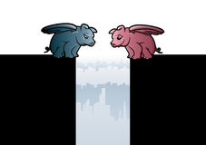 Flying Pigs. Illustrations of an optimistic and a pessimistic peg with wings Royalty Free Stock Photos