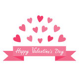 Flying pink heart and dash line ribbon. Print poster. Happy Valentines day text. Greeting card. Flat design. White background. Iso Royalty Free Stock Images