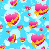 Flying pink hearts. Seamless pattern with Flying pink hearts on a blue background Royalty Free Stock Photography