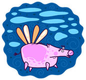 Flying pink pig. A large pink pig flying on the wings of the blue sky with blue clouds Stock Images