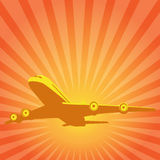 Flying the plane on a background of the sun. Vector drawing. Flying the plane on a background of the rising sun symbolic Royalty Free Stock Photography
