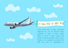Flying Plane with Banner for Your Text, Advertising, Header. Stock Photo