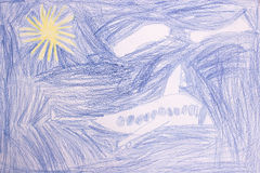 Flying plane, childs drawing Royalty Free Stock Image