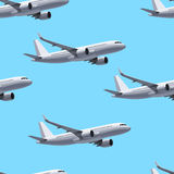 Flying Plane Concept. Seamless Pattern. Vector Illustration. Blue Sky Royalty Free Stock Photography