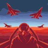 The flying plane stock illustration
