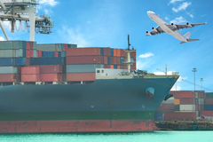 A flying plane and a freight ship on transport background Royalty Free Stock Photography