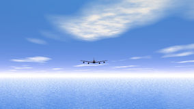 Flying plane upon the ocean - 3D render stock footage