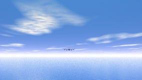 Flying plane upon the ocean - 3D render stock footage