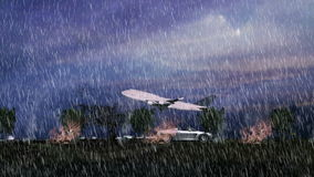 Flying plane over horizon and heavy rain. With dark cloudy sky stock footage