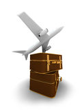 Flying Plane And Pile Of Suitcases Royalty Free Stock Photo