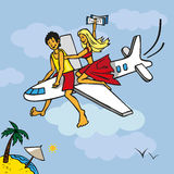 Flying on plane to beach Royalty Free Stock Photo