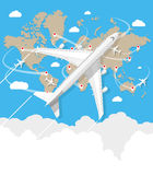 Flying a plane to travel destination Stock Photo