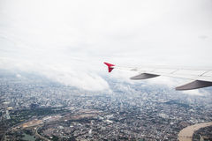Flying plane and travel Stock Image