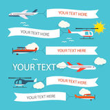 Flying planes and helicopters set. With the banners, template for text Stock Image