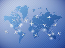 Flying planes over a world map illustration Royalty Free Stock Photography