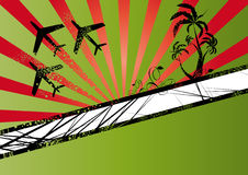 Flying planes and palm trees. Illustration of three flying planes and palm trees on a green background with red rays Stock Image