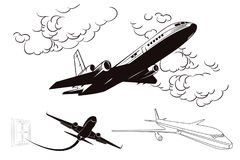 Flying planes. Stock illustration. Stock Image
