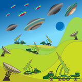 Flying plates of aliens are attacking the Earth. Military rocket unit keeps the defense. Hand drawing vector illustration Royalty Free Stock Photos
