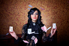 Flying poker cards royalty free stock photo