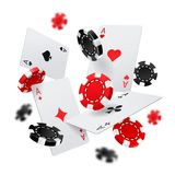 Casino banner with poker chips and cards vector illustration