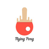 Flying pong with red melted tennis racket. Concept of championship, visual identity, olympic games, sport store. isolated on white background. flat style trend Stock Image