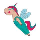 Flying pony, unicorn, horse Stock Images