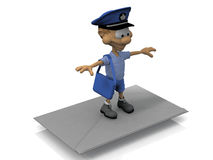 Flying Postman and letter Royalty Free Stock Photography