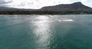 Flying POV, Hyperlapse of panorama off the coast of Maui, Hawaii, in blue water _