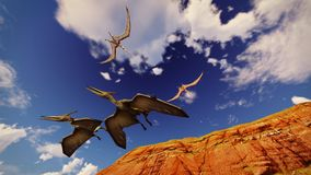 Flying pterodactyl against the beautiful cloudscape 3d illustration. Flying pterodactyl over the land Stock Images