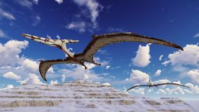 Flying pterodactyl against the beautiful cloudscape 3d illustration. Flying pterodactyl over the land Royalty Free Stock Photos