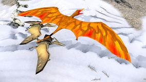 Flying pterodactyl against the beautiful cloudscape 3d illustration Stock Images