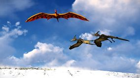 Flying pterodactyl against the beautiful cloudscape 3d illustration Royalty Free Stock Photo