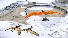 Flying pterodactyl against the beautiful cloudscape 3d illustration Stock Image