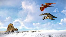 Flying pterodactyl against the beautiful cloudscape 3d illustration Royalty Free Stock Images